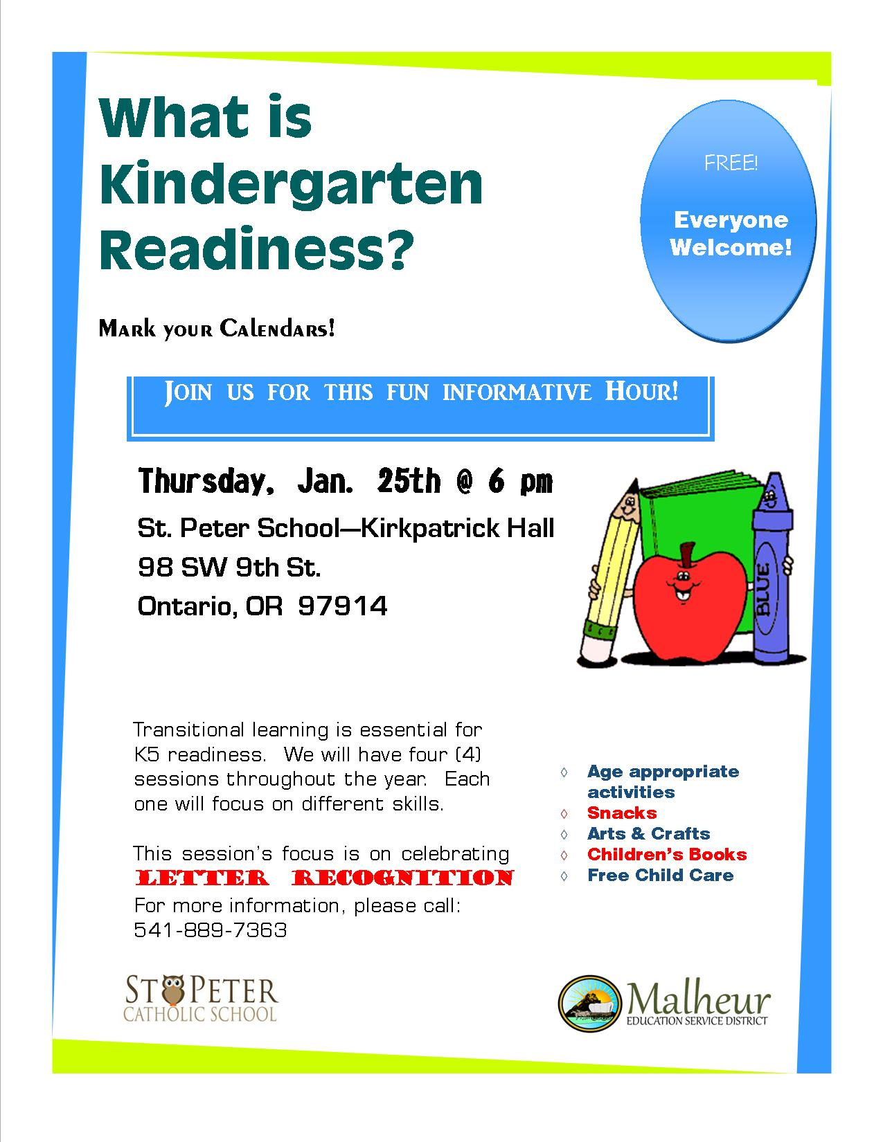 Kindergarten Readiness Calendar : Kindergarten readiness program st peter catholic school